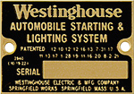 westinghouse automobile starting lighting serial number plate brass