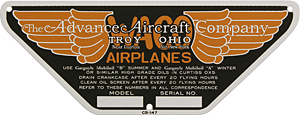 WACO airplanes aircraft model serial number no plate