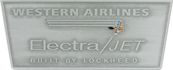 electra jet western airlines display placard aluminum